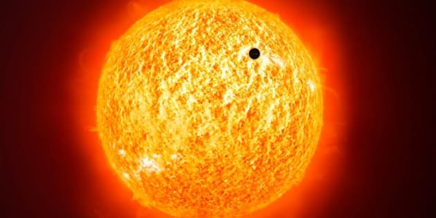 This is a public domain image showing the planet Mercury crossing our sun The picture is from a company called Pixabay that allows users free range to use any of their images for any purposes