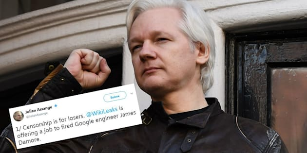 Julian Assange propose un job à l'ingénieur de Google renvoyé pour sexisme