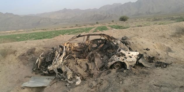 QUETTA, PAKISTAN - MAY 22 :  Wreckage of a destroyed vehicle in which Mullah Mohammad Akhtar Mansour was allegedly traveling in Noshki, Balochistan province is seen after it was hit by US drone on May 22, 2016.  According to reports a US drone attacked a vehicle said to be carrying Mullah Mansoor and his driver in Noshki, Balochistan province, Pakistan. (Photo by Barkat Tareen /Anadolu Agency/Getty Images)