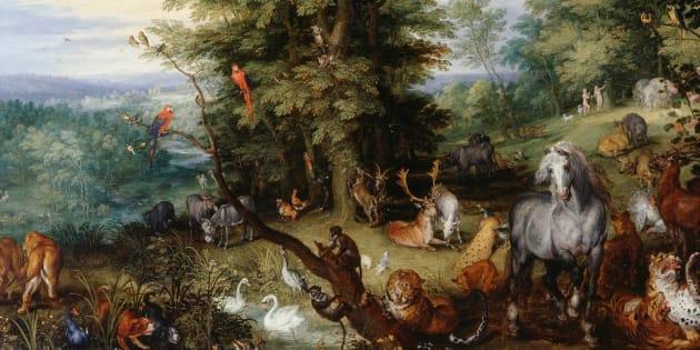 Jean Brueghel, Adam et Eve au jardin d'Éden, 1610