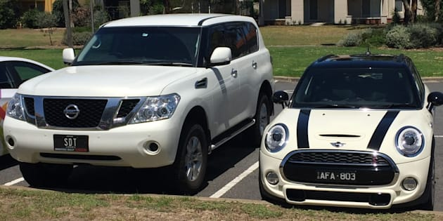 A Nissan Patrol with registration SDT and a white Mini Cooper with registration AFA 803 was stolen.