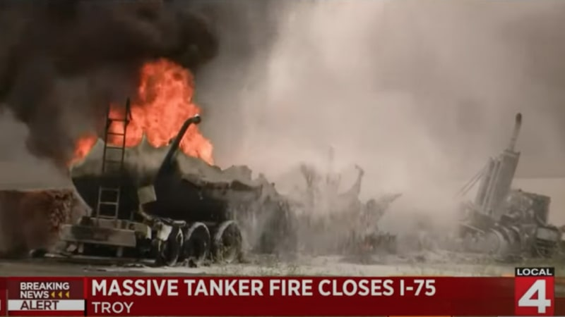 Massive tanker fire may have Detroit's I-75 shut down for days