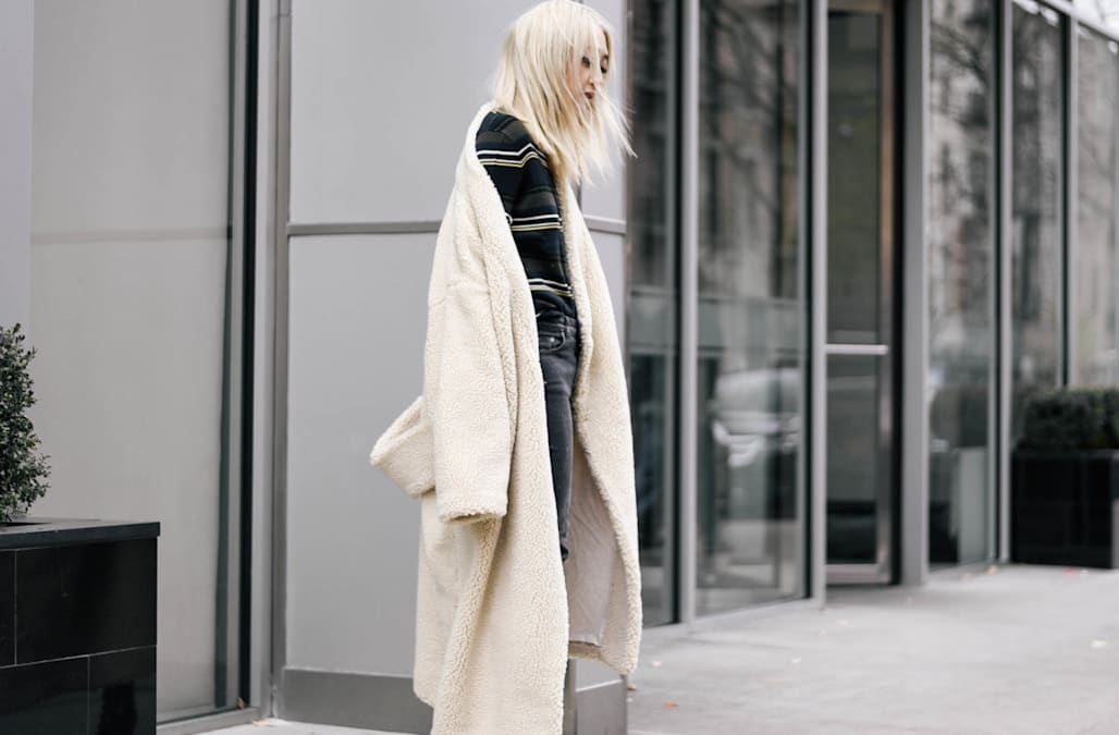 9f38c9ae3e60 Street style tip of the day  Oversized shearling - AOL Lifestyle