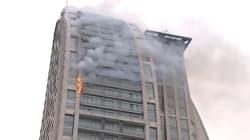 Une Trump Tower en feu en