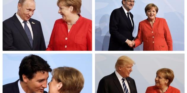 Combo con las imágenes del momento en el que la canciller alemana recibe a los líderes mundiales en la cumbre del G20.