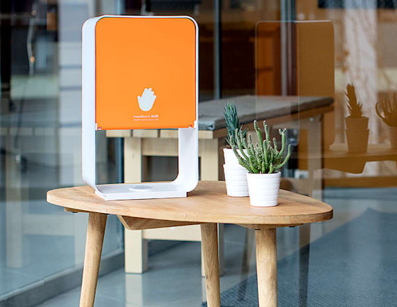 This smart hand sanitizer station holds 2,000 uses