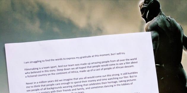 """""""Black Panther"""": le réalisateur Ryan Coogler """"sa reconnaissance"""" dans une lettre ouverte"""