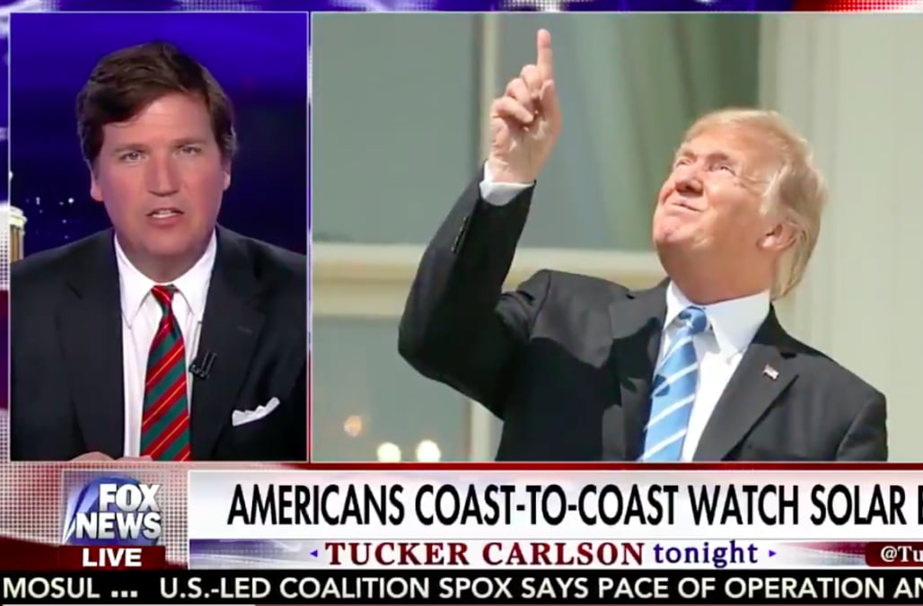 tucker carlson probably jokes about trump staring at sun most