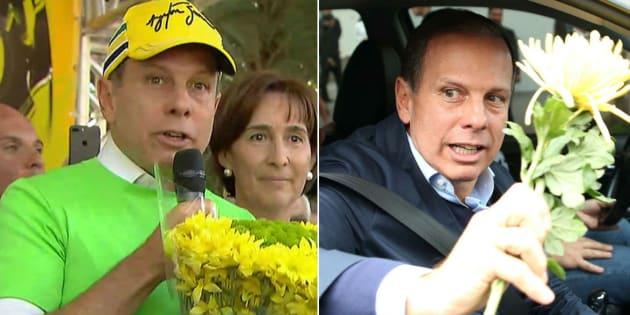Prefeito de São Paulo, João Doria (PSDB) joga flor entregue por ciclista no chão.