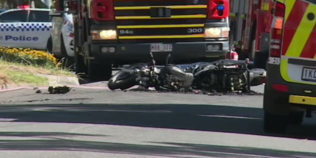 The motorbike burst into flames after being dragged up to 60 metres down the road.