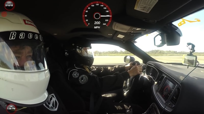 Watch This 2018 Dodge Challenger Demon Go Faster Than 200 Mph At The Proving Grounds Where E Shuttles Landed Autoblog