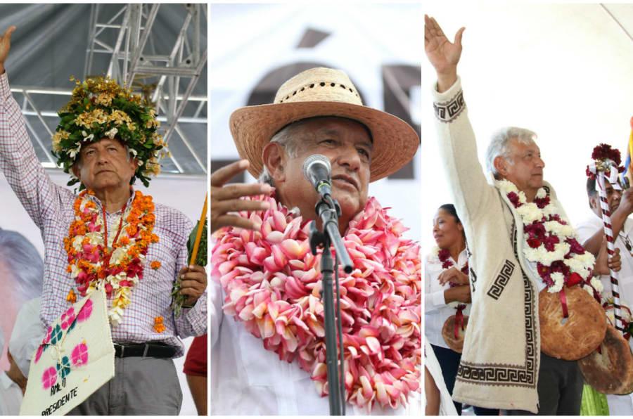 Algunos de los accesorios utilizados por Andrés Manuel López Obrador durante su gira por el país.