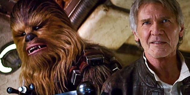 Chewbacca and Han Solo in a still from the 'Star Wars: The Force Awakens' trailer.