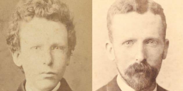 左は13歳のゴッホ(フィンセント)と考えられていた写真。のちに15歳のテオと判明した。右は32歳当時のテオ。