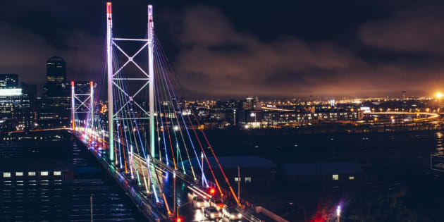 Nelson Mandela Bridge, downtown Johannesburg.