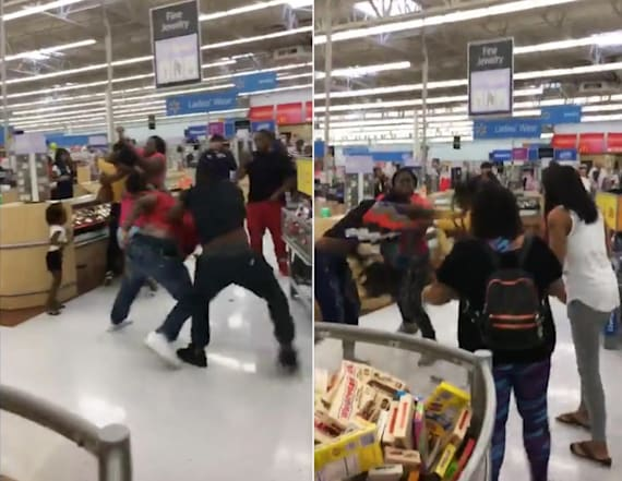 Adults brawl in Walmart as kids try to break it up