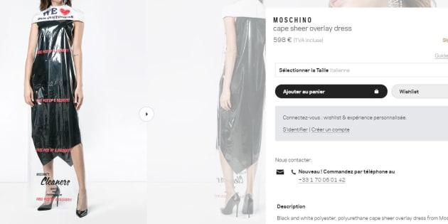 """Moschino vend une robe """"housse de pressing en plastique"""" à près de 600€"""