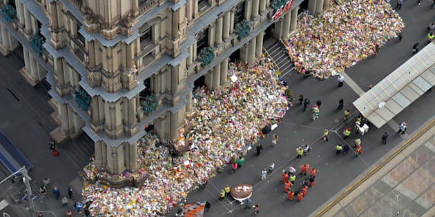 Floral tributes at Bourke Street.