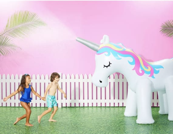 Beat the heat with an inflatable unicorn sprinkler