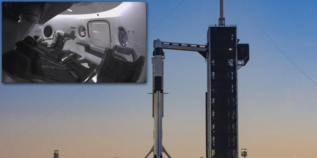 La fusée Falcon 9 doit lancer, à vide, la capsule habitable Crew Dragon de SpaceX. Elle permettra d'envoyer des astronautes américains dans l'espace.