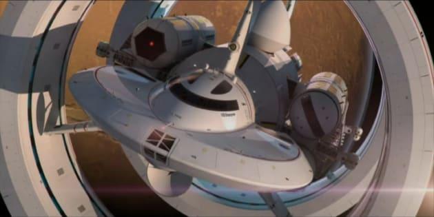 L'IXS Enterprise, un concept de vaisseau spatial voyageant plus vite que la lumière imaginé par Harold G. White, auteur principal de l'article sur l'EM Drive.
