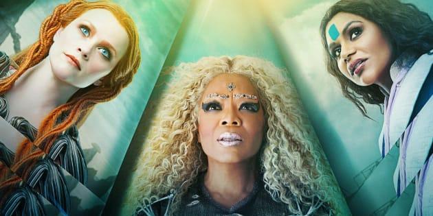 Da esq. para a dir.: Reese Witherspoon, Oprah Winfrey e Mindy Kaling são, respectivamente, as senhoras Queé, Qual e Quem.