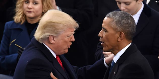 WASHINGTON, Jan. 20, 2017 : U.S. President Donald Trump(L, front) is greeted by former U.S. President Barack Obama after delivering his inaugural address during the presidential inauguration ceremony at the U.S. Capitol in Washington D.C., the United States, on Jan. 20, 2017. Donald Trump was sworn in on Friday as the 45th president of the United States. (Xinhua/Yin Bogu via Getty Images)