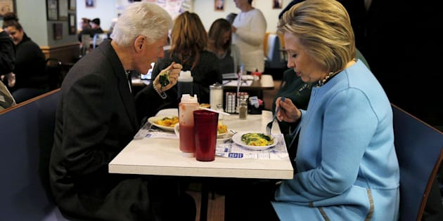 Hillary and Bill Clinton eat breakfast at Chez Vachon restaurant in Manchester, New Hampshire on February 8, 2016.