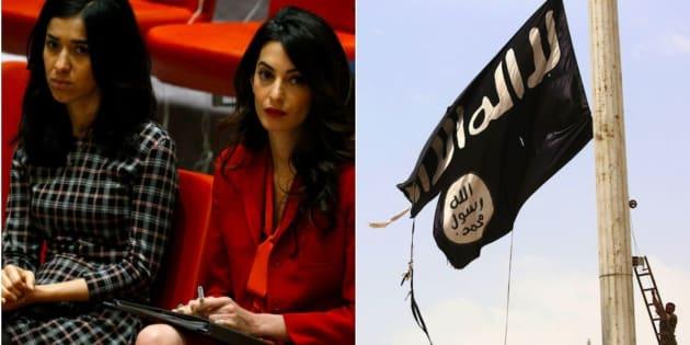 Nadia Murad, que sobreviveu ao EI, e Amal Clooney assistem a uma reunião do Conselho de Segurança marcada para adotar uma resolução para a preservação de provas dos crimes do EI no Iraque. Sede das Nações Unidas, Nova York, 21 de setembro.