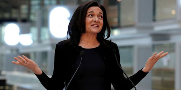 Facebook chief operating officer Sheryl Sandberg delivers a speech during a visit in Paris on January 17 2017.