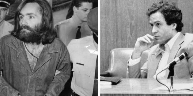 Charles Manson (i) y Ted Bundy, durante sus respectivos juicios.
