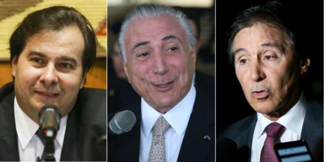 Presidente da Câmara, Rodrigo Maia, da República, Michel Temer, e do Senado, Eunício Oliveira.