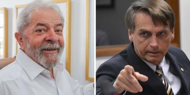 Pesquisa Datafolha mostra que 6% dos eleitores de Lula (à esquerda) migram para o deputado Jair Bolsonaro quando o petista não está entre os candidatos.