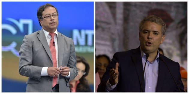 Gustavo Petro (i) e Iván Duque se disputarán la presidencia de Colombia en la segunda vuelta electoral.