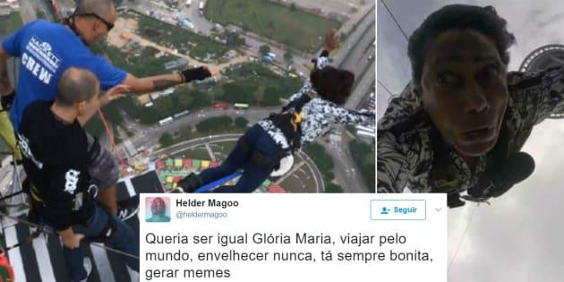 A reação de Gloria Maria ao saltar de bungee jump no Globo Repórter.