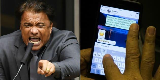 Deputado Wladimir Costa (SD-PA) troca mensagens ofensivas durante votação da denúncia contra presidente Michel Temer.
