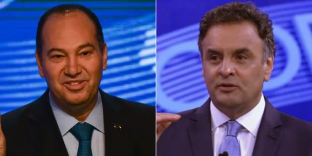 Pastor Everando, candidato do PSC à Presidência da República em 2014 e Aécio Neves, candidato pelo PSDB.