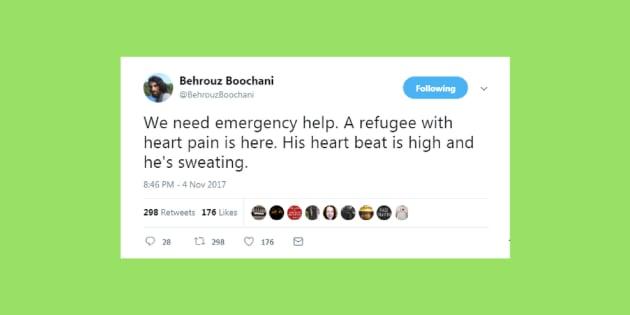 Behrouz Boochani is an Iranian refugee.
