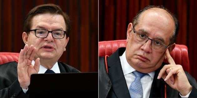 Relator do processo que julga a cassação da chapa Dilma-Temer, Herman Benjamin, e presidente do TSE, Gilmar Mendes, discutem em sesssão.