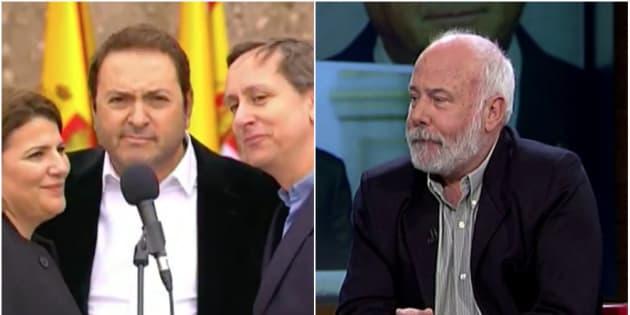 Los periodistas María Claver, Albert Castillón y Carlos Cuesta. A la derecha, Ramón Lobo.