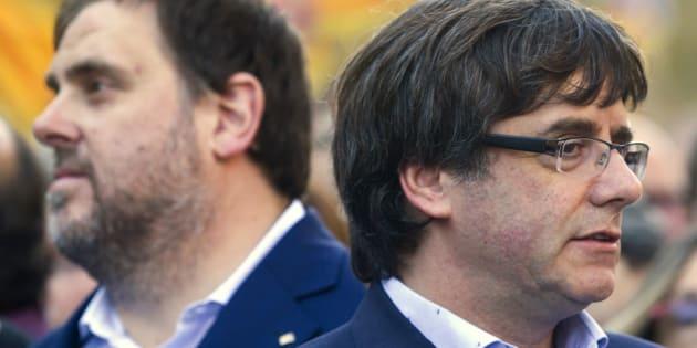 Oriol Junqueras y Carles Puigdemont, al frente de ERC y Junts per Catalunya, respectivamente, en una imagen de archivo.