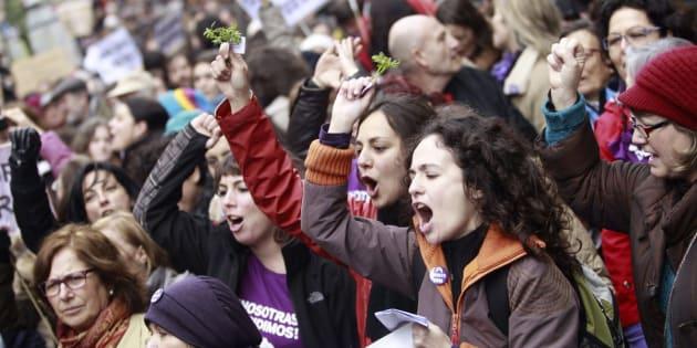 Marcha en Madrid contra la reforma de la ley del aborto promovida por el PP, en febrero de 2014.