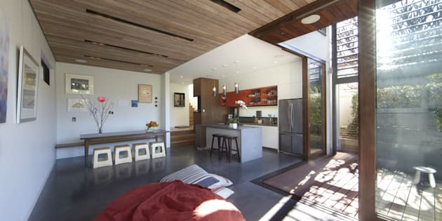 Concrete floors, shading devices and plenty of solar access.