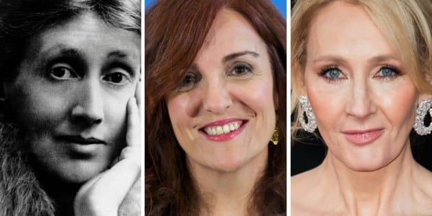 Las escritoras Virginia Woolf, Elvira Lindo y J.K. Rowling.