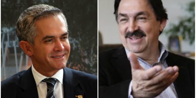 Miguel Ángel Mancera, candidato plurinominal por el PAN (izquierda) y Napoleón Gómez Urrutia, candidato plurinominal por Morena (derecha).