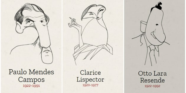 Caricaturas dos escritores feitas por Cássio Loredano compõem visual do site.