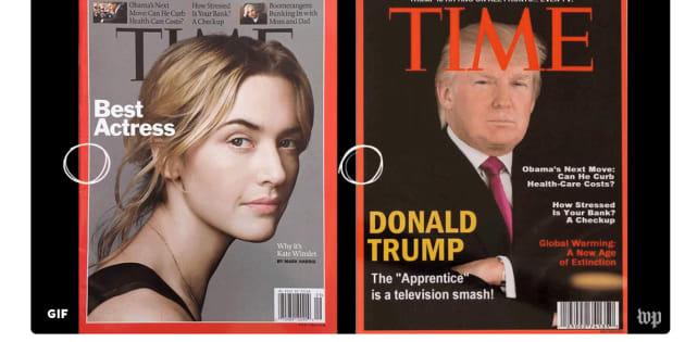 La portada verdadera (izquierda) y la falsa (derecha), que Trump usa para decorar las paredes de sus clubes de golf.