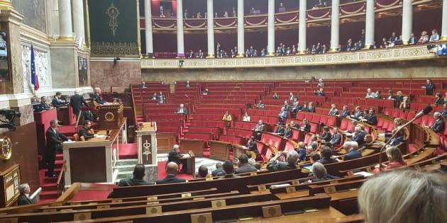 Cette photo prise des bancs du FN montre une Assemblée clairsemée à l'occasion du 55e anniversaire du Traité de l'Elysée.