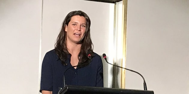 Boyle speaking at the Mind The Facts event in Canberra.