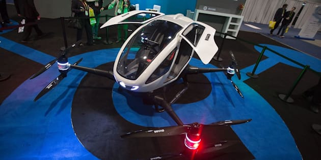 An Ehang 184 autonomous personal helicopter is displayed during the 2017 Consumer Electronic Show (CES) in Las Vegas, Nevada, Jan. 6, 2017.